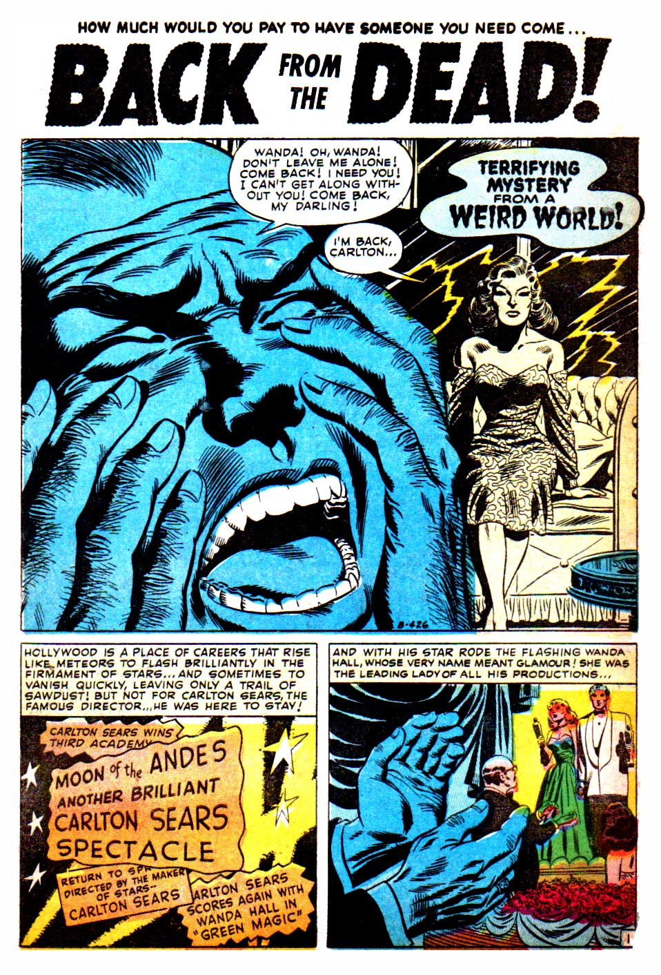 the horrors of it all back from the dead creepshow but first a sad little number of love betrayal and the walking talking acting dead from the feb 1953 issue of adventures into weird worlds 15