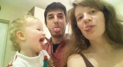 picture of Uncle J, Aunty S and Bear poking tongues out