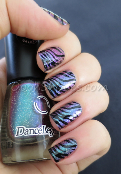 Dance Legend 843 Milky Way with Konad Black and Konad plate m69