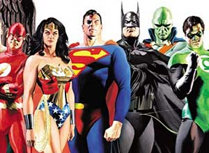 Justice League of America Image with The Flash, Wonder Woman, Superman, Batman, Martian Manhunter, and Green Lantern. Artwork by Alex Ross