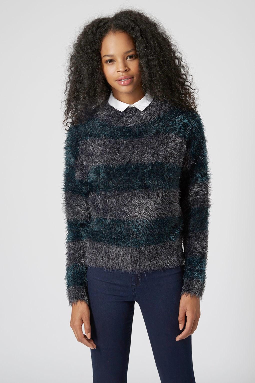 fluffy striped jumper