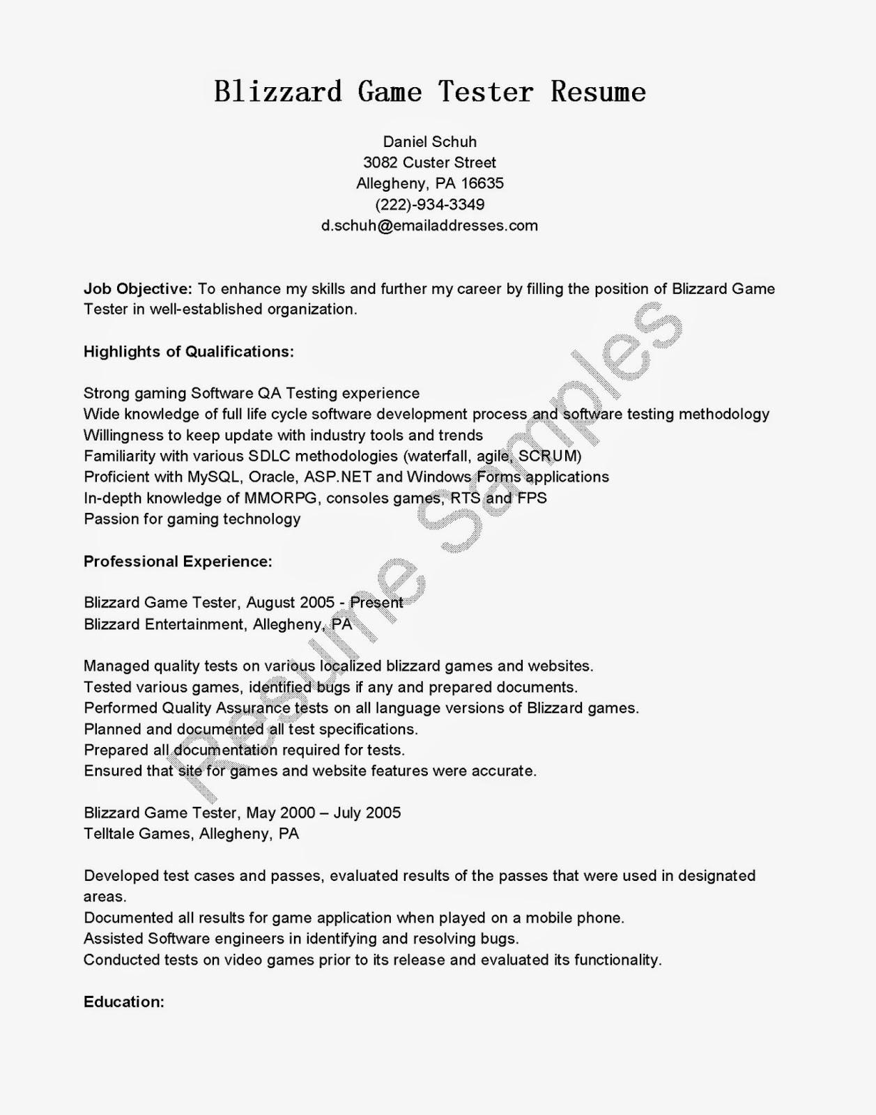resume samples  blizzard game tester resume