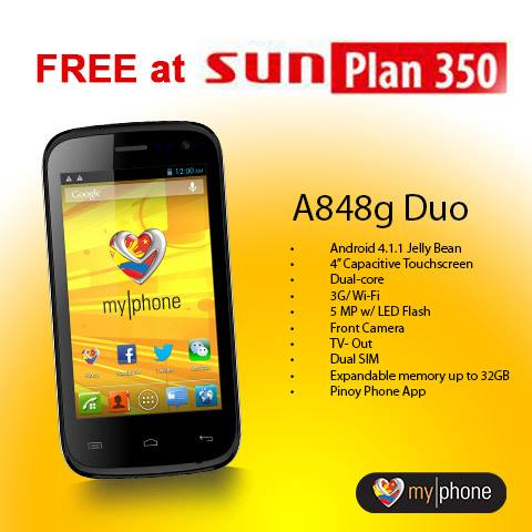 Myphone a848g duo now available at sun plan 350 for free for Sun mobile plan