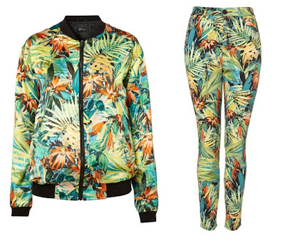 Topshop hawaiian floral bomber jacket & skinny trousers