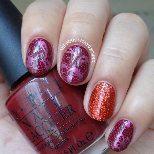 Pink Floral Lace Stamping with Red Glitter Accent Nail Art