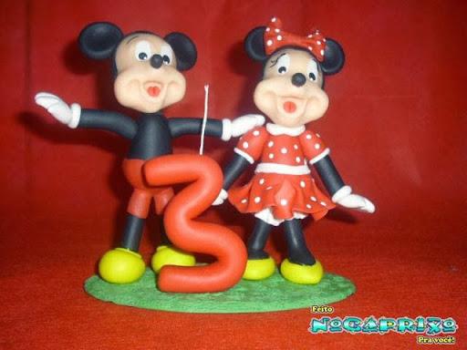 Velinha em biscuit Mickey e Minie