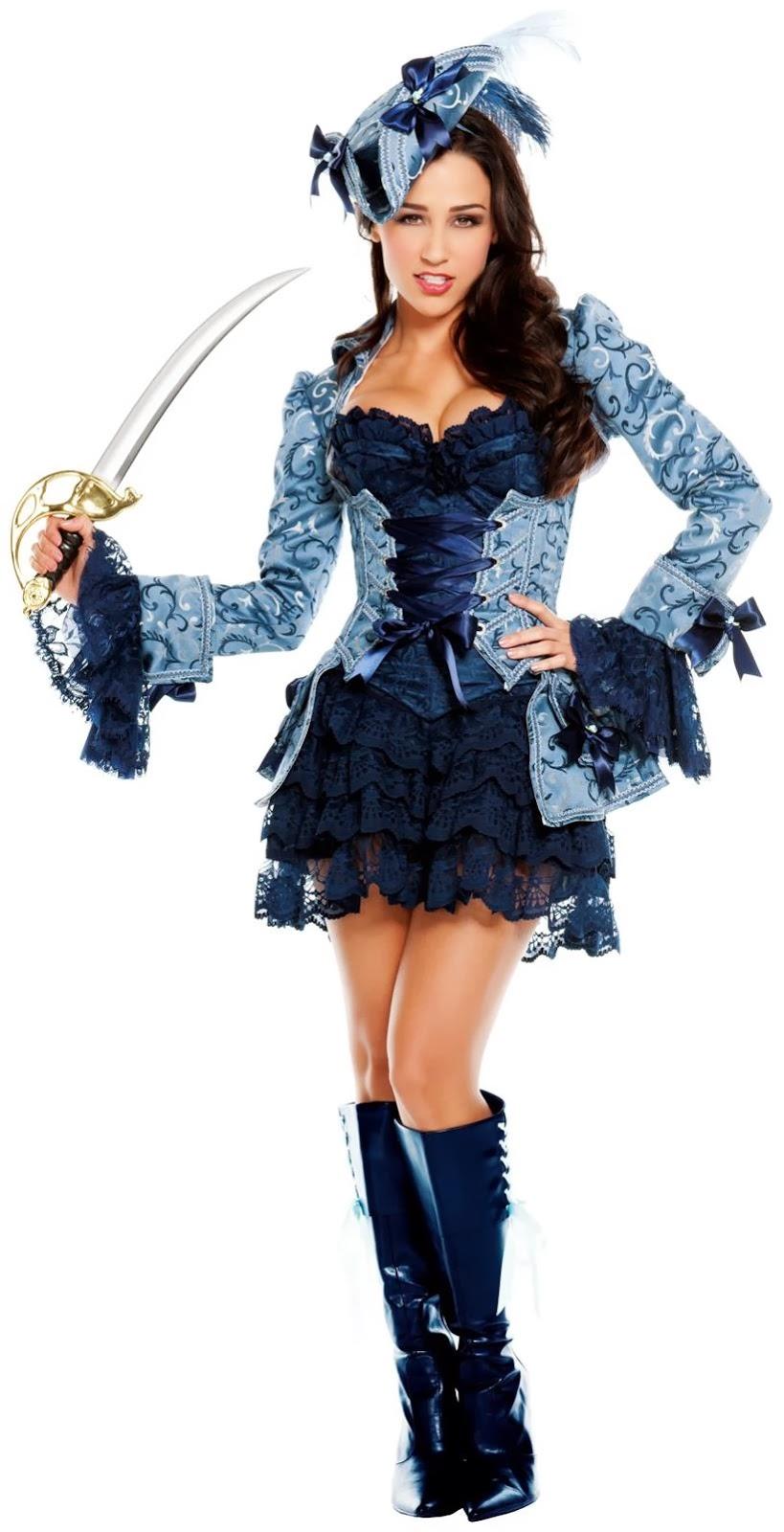 Blue Victoria's Pirate Adult Costume