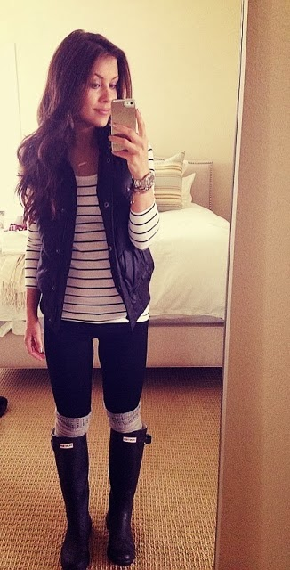Rainy day outfit: H stripe tee, Vest, Hunter rain boots