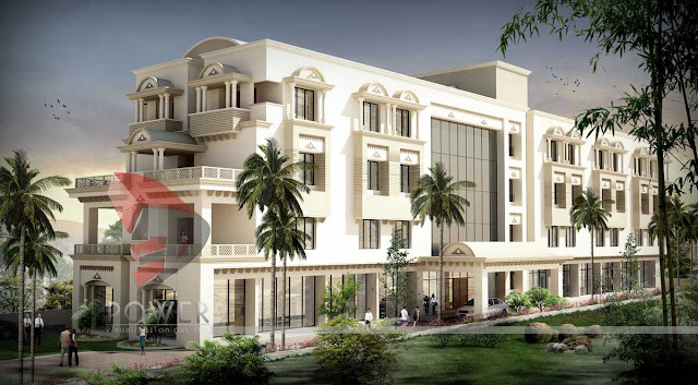 3d Architectural View Of Hotel,architectural 3d visualization of hotel