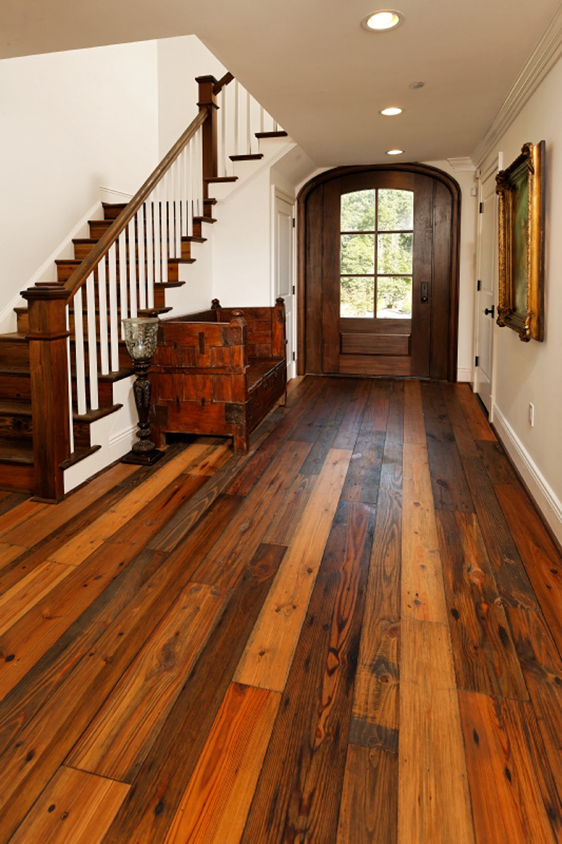Authentic pine floors reclaimed wood compliments any for Recycled wood floor