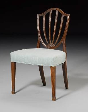 Mahogany dining chair in the Hepplewhite style, made circa 1790
