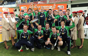 Victorious Irish Cricket team in Dubai