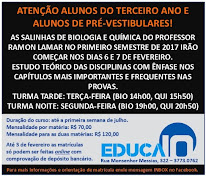SALINHAS DE BIOLOGIA E QUÍMICA