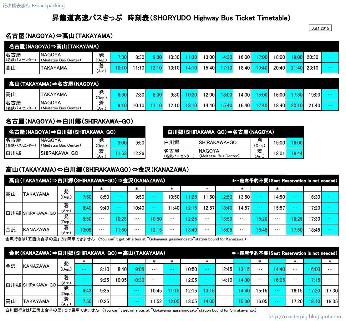 一頁看懂! 昇龍道高速巴士車票(更新:2017年4月) - 花小錢去旅行