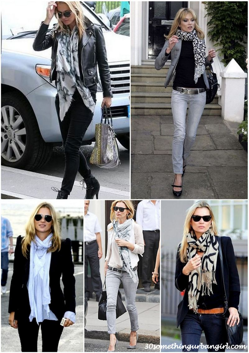 Kate Moss stylish street style outfits with scarves