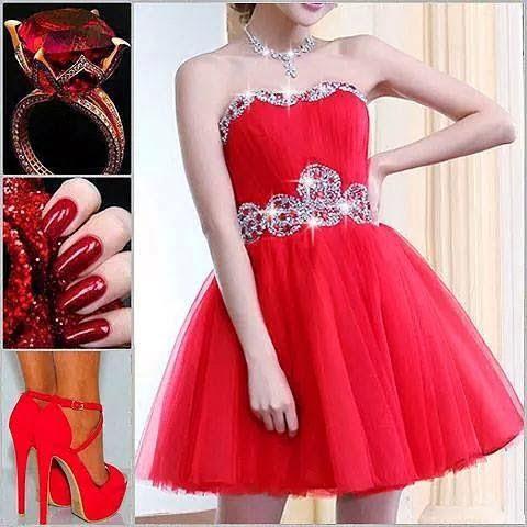 Straplez Taşlı Kırmızı Abiye Elbise ve Kombini (Taş Kemer Ayakkabı Makyaj Detaylı)