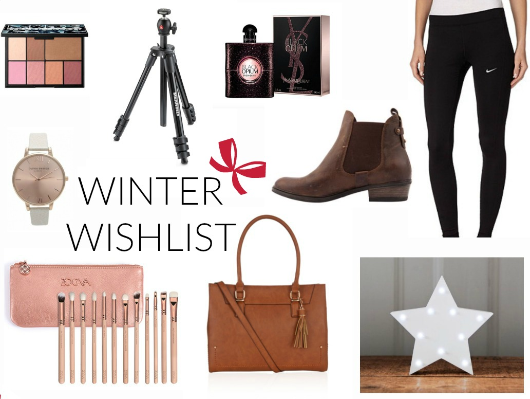 Winter Wishlist, NARS, Manfrotto, YSL, Jones Bootmaker, Nike, Olivia Burton, Zoeva, Accessorize, Up In Lights