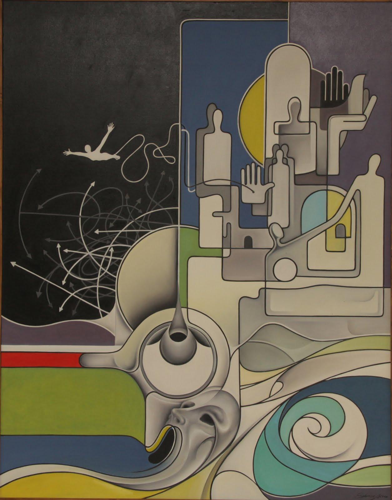 Solange Alves, Odisséia,  óleo sobre tela, 110x140 cm.