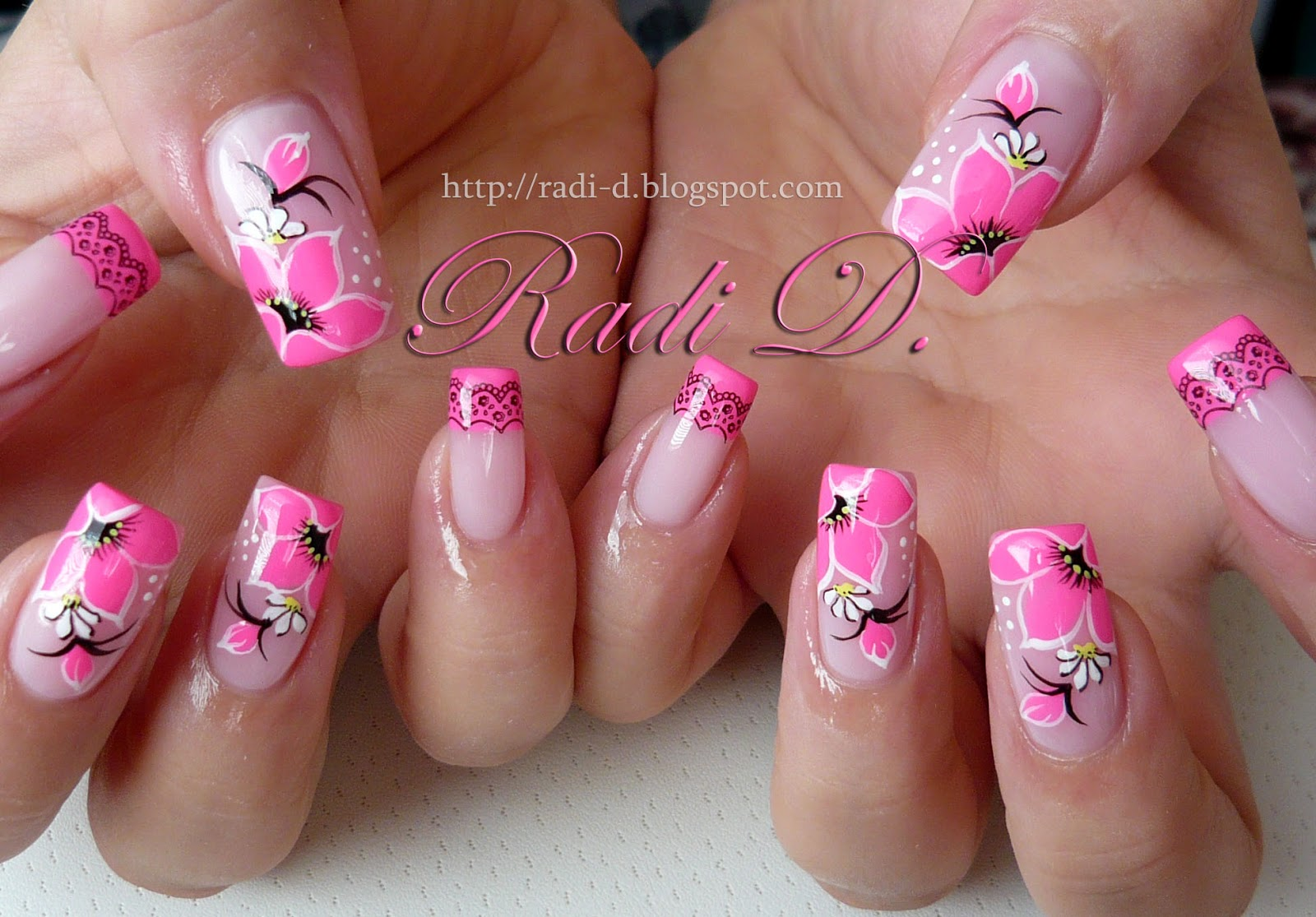 It`s all about nails: Neon Pink Tips and Flowers