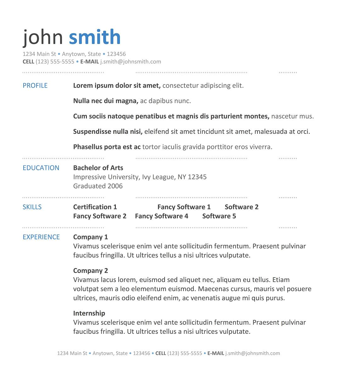 9 best free resume templates download for freshers - Professional Resume Formats