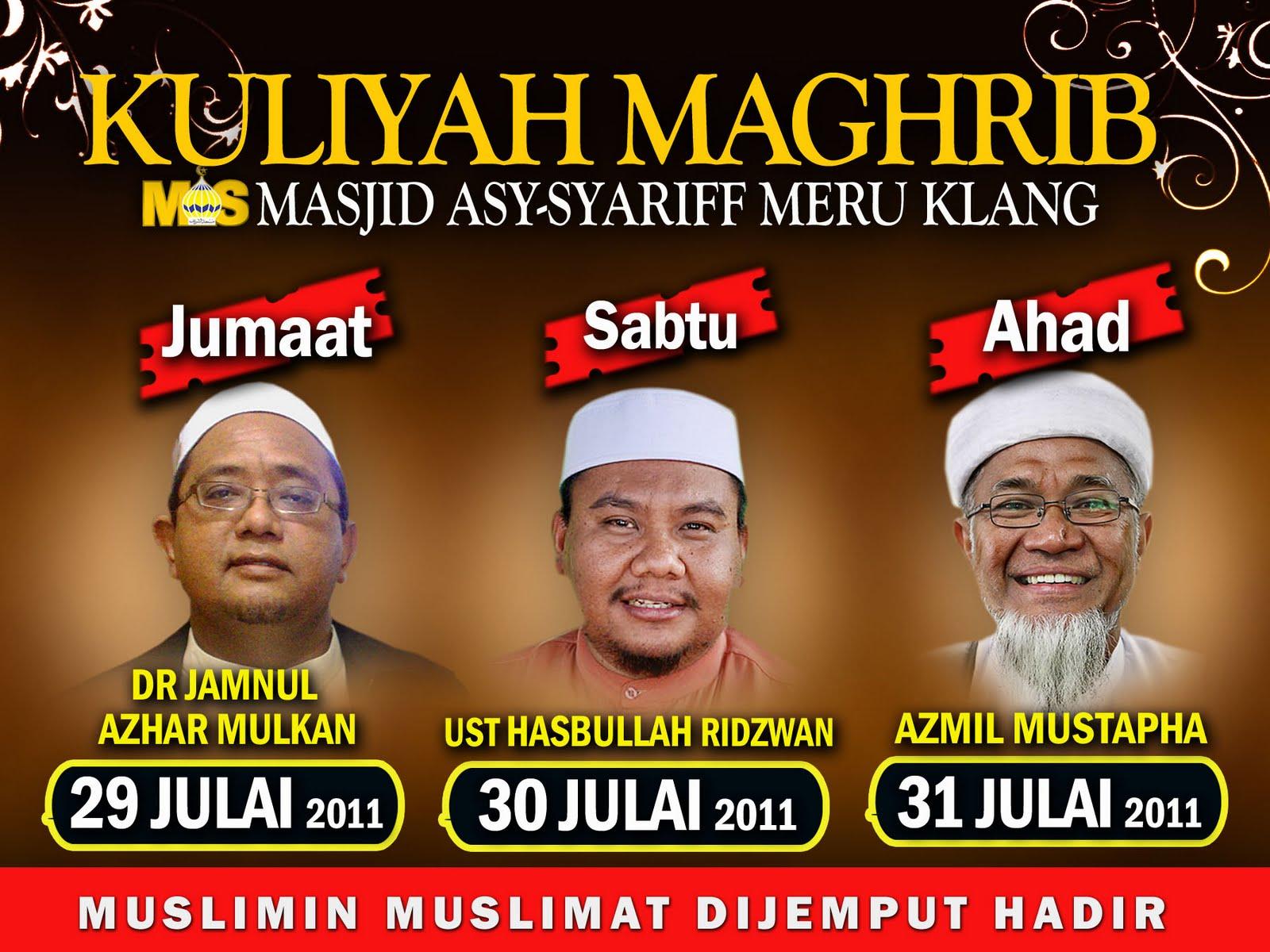 Kuliah Ramadhan di Masjid Asy Syarif Meru Klang www.mymaktabaty.com