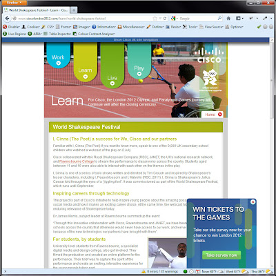 Screen shot of http://www.ciscolondon2012.com/learn/world-shakespeare-festival.