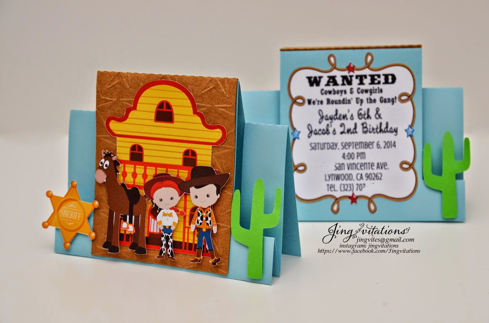 toy story invitations cowboy woody and jesse