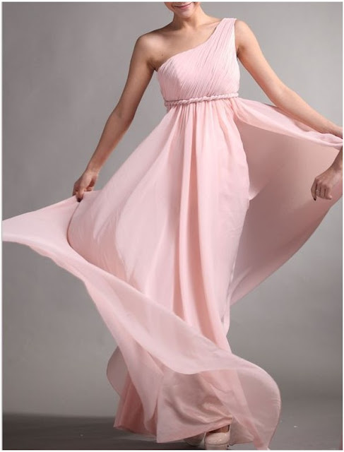 Chiffon One-Shoulder A-Line Prom Dress with Rope Form