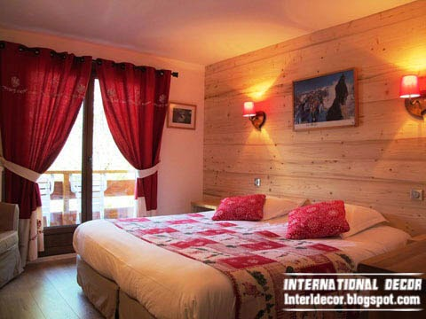 warm bedroom, red window treatments