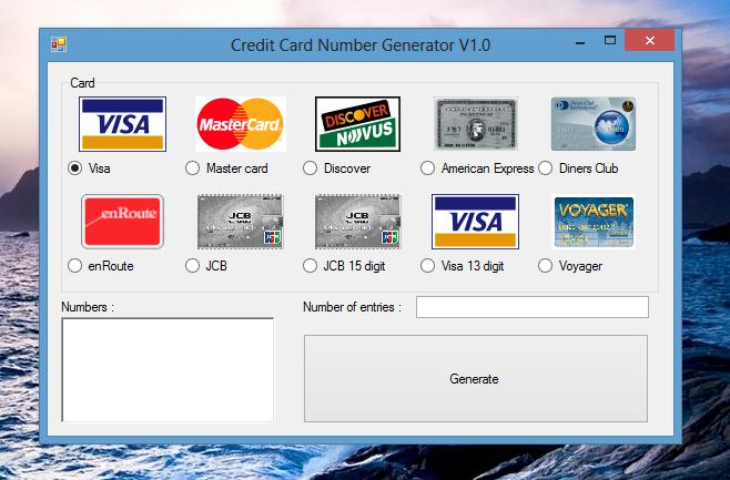Credit Card Numbers Generator