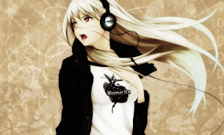 Anime Girl Blonde Headphones HD Wallpaper