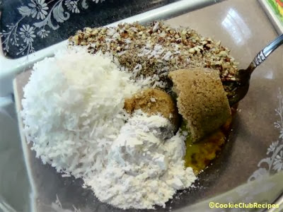 eggs, coconut, and dry ingredients in bowl