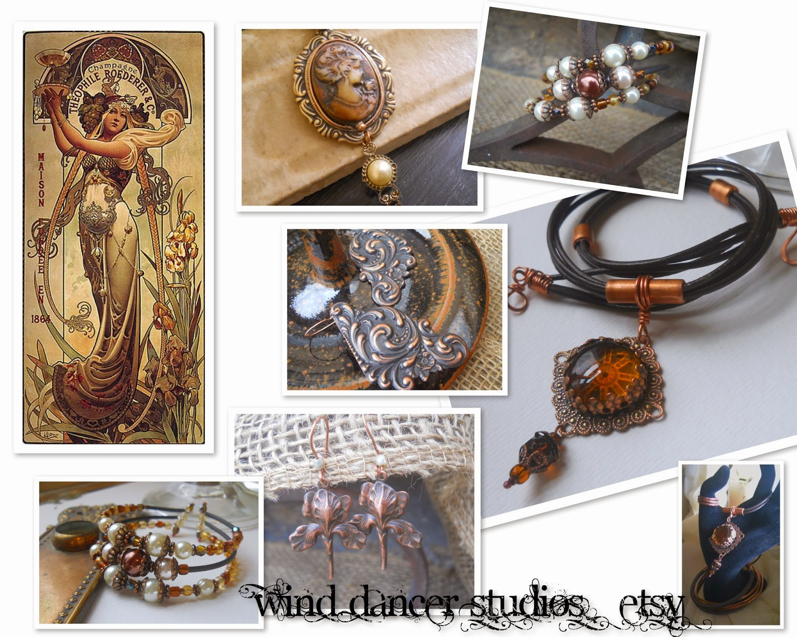 mucha's musings: Champagne collection in Brown, hand crafted jewelry by Wind Dancer Studios on Etsy