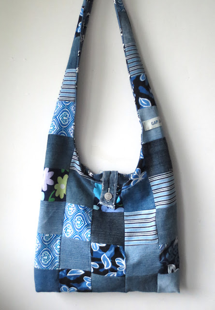 upcycled bag made out of denim scraps