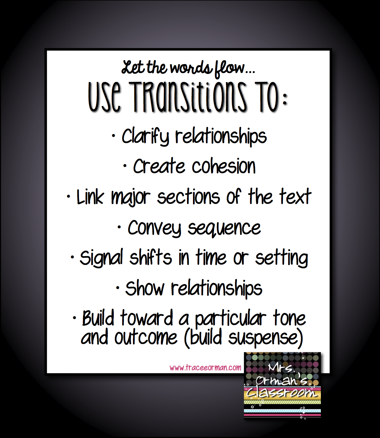 mrs orman s classroom common core tips using transitional words use transitions anchor chart traceeorman com
