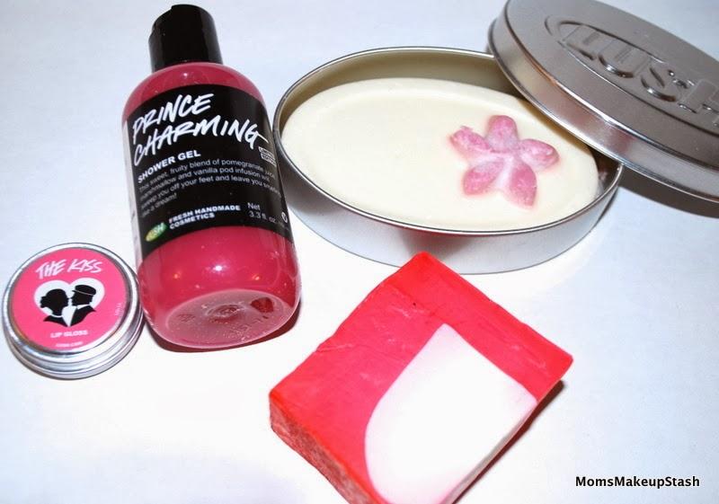 LUSH Valentine's Day, LUSH The Kiss Lip Gloss, LUSH Prince Charming Shower Gel, LUSH Tender is the Night Massage Bar, LUSH Neon Soap