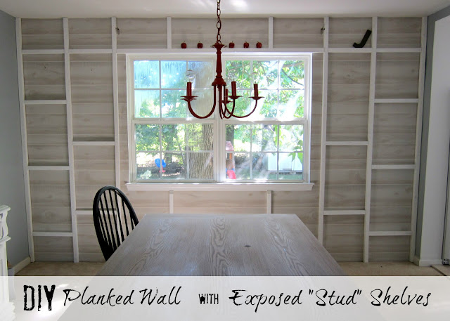 Planked Wall With Exposed Stud Shelving Tutorial