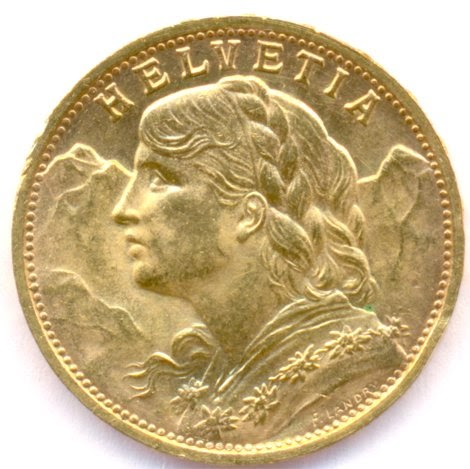 Switzerland 20 Frank Gold Coin Dated 1935 World Banknotes