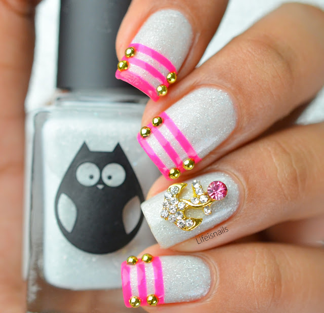 Pink nautical nails