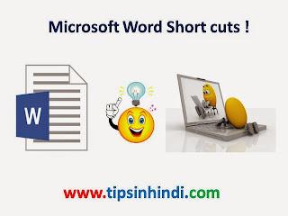 Microsoft Word Short Cuts in Hindi