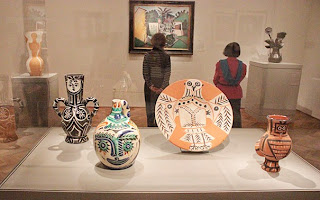 Photograph of several different ceramic items created at Madoura Pottery in the village of Vallauris.