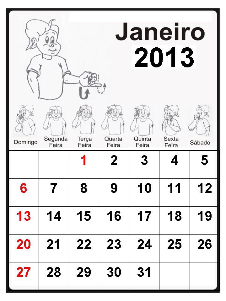 Calendário 2013 em Libras