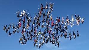 One hundred and sixty four sky divers made history this last month when they made a vertical formation flying upside down at Ottawa.