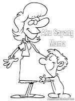 Mewarnai Gambar Aku Sayang Mama