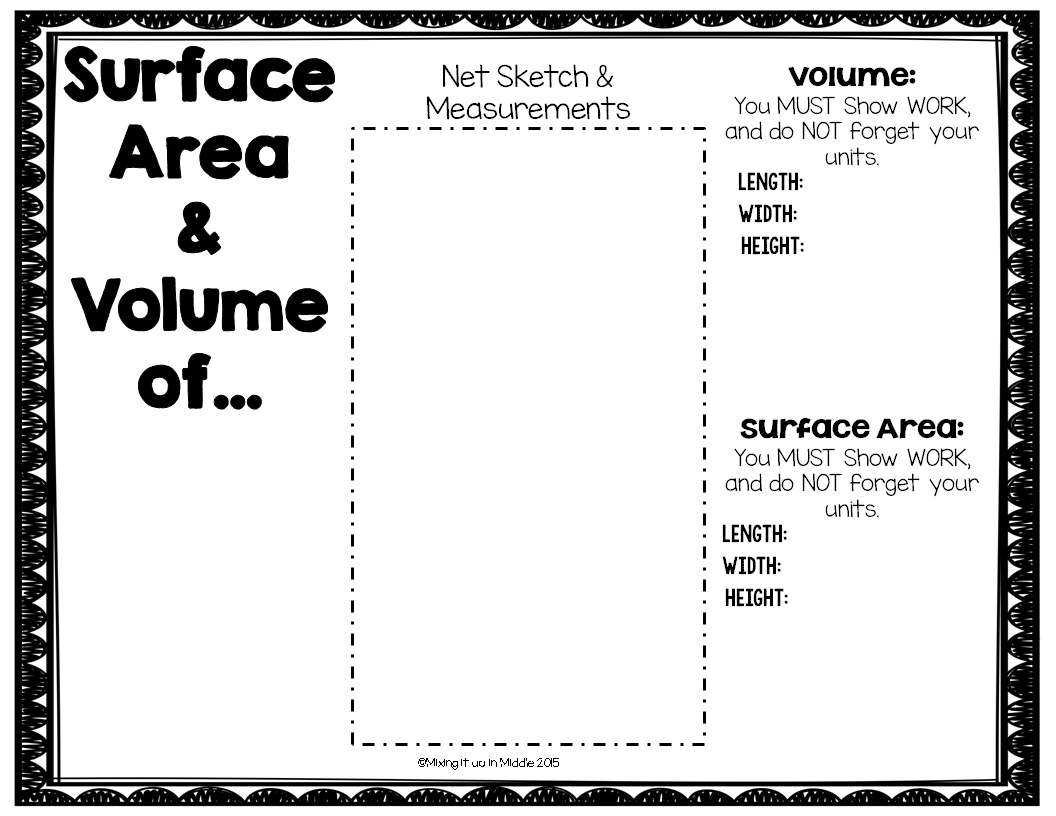 Mixing it up in Middle Volume Surface Area FUN a FREEBIE – Surface Area Nets Worksheet