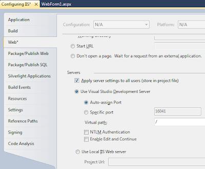 Configuring Built-in asp.net development server