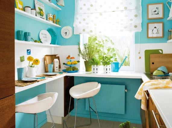 Turquoise Blue Kitchen For Cute Interior