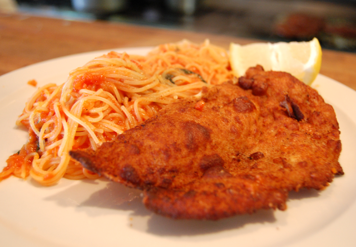 Spaghetti with Chicken Milanese