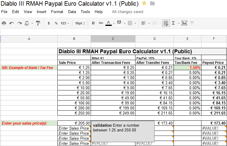 Diablo III RMAH Paypal Euro Calculator
