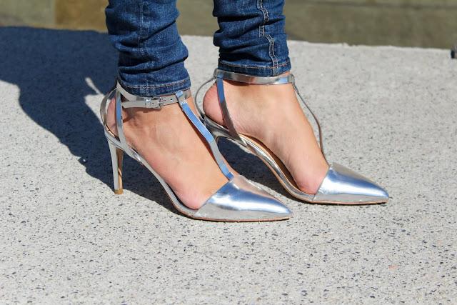 silver heels from Zara